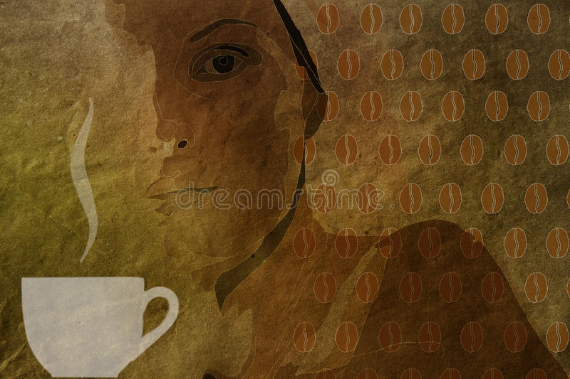 Vintage background with a cup of coffee and coffee beans pattern royalty free stock photos