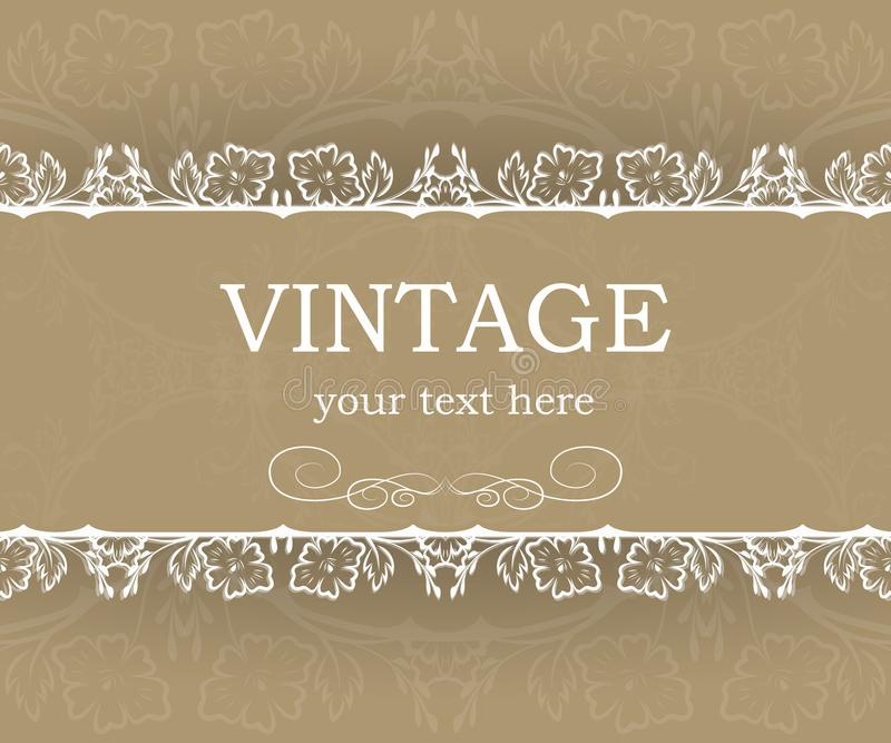 Vintage background with decorative frame. Elegant design element template with place for your text. Floral border. stock illustration