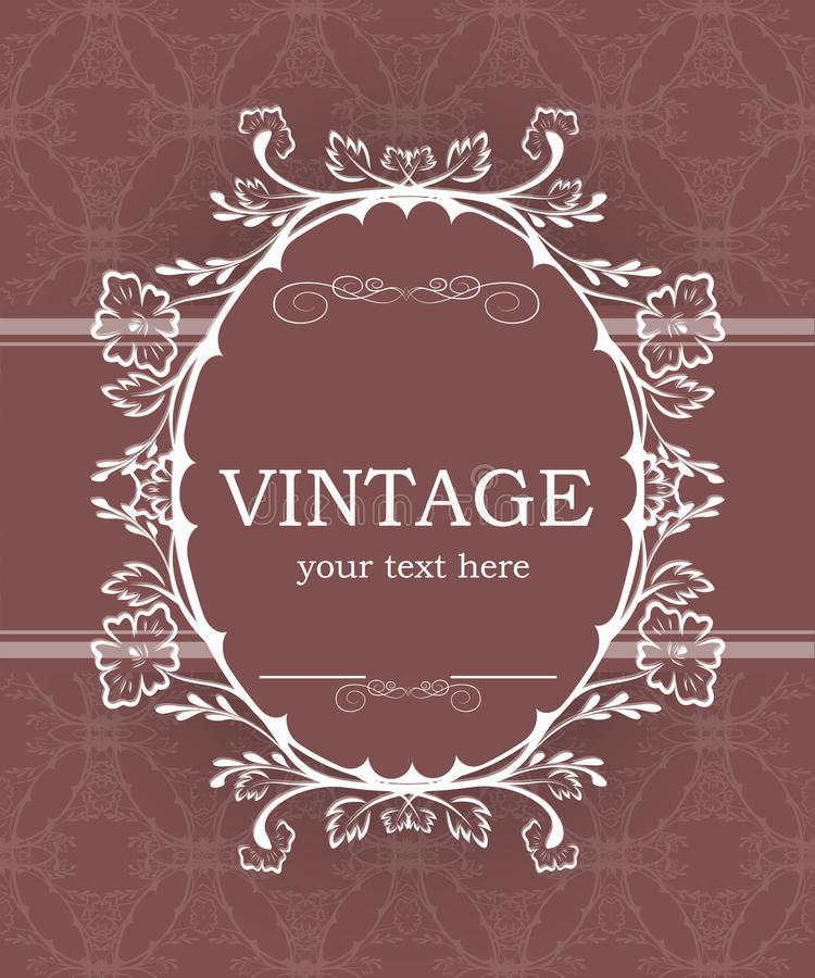 Vintage background with decorative frame. Elegant design element template with place for your text. Floral border. Lace decoration for birthday greeting card stock illustration