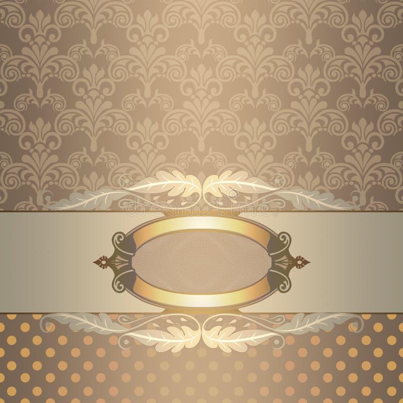 Vintage background with decorative frame. Decorative background with old-fashioned frame and decorative patterns. Vintage invitation card design vector illustration