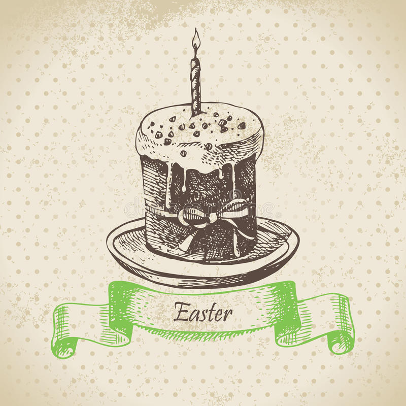 Vintage background with Easter cake