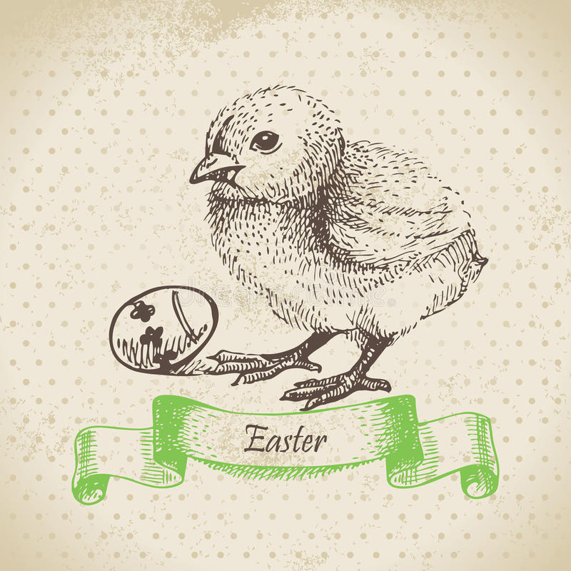 Download Vintage Background With Easter Chick Stock Vector - Illustration: 32352184
