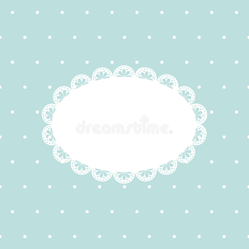 Vintage background with empty lace frame on blue polka dot texture stock illustration