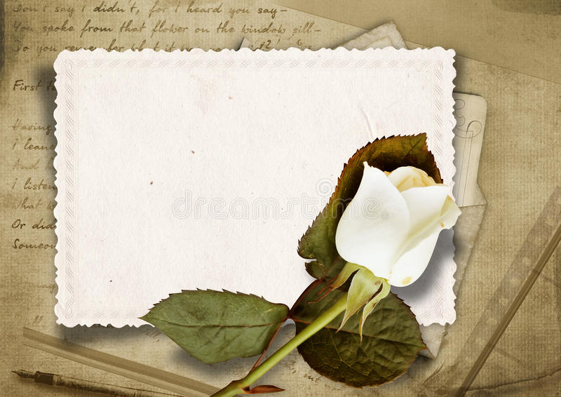 Vintage Background With Faded Rose And Old Card Stock Images