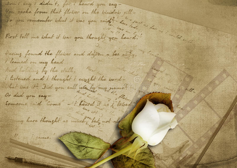 Vintage background with faded rose and old letter stock photography