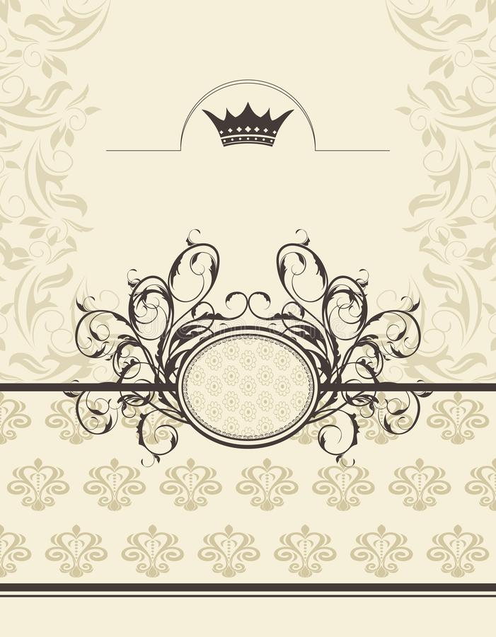 Download Vintage Background With Floral Frame And Crown Stock Vector - Image: 21117041
