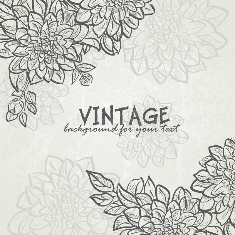 Vintage background with flowers dahlias for your text-EPS10 stock illustration