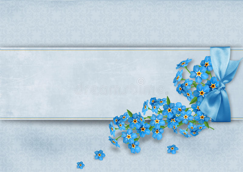 Vintage background with forget-me-not flowers royalty free stock photo