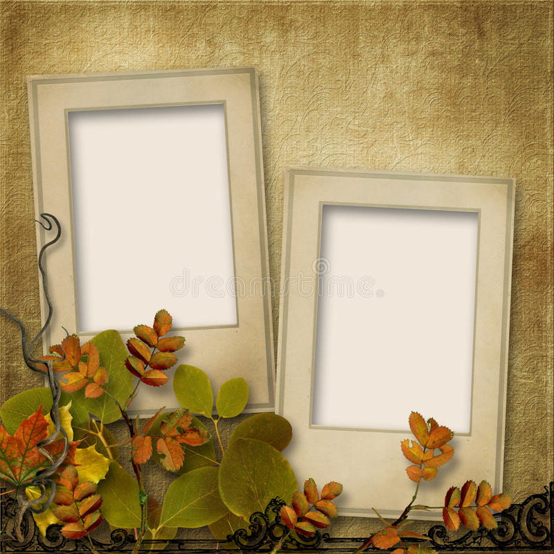 Vintage Background With Frame For Photo And Autumn Leaves Stock ...