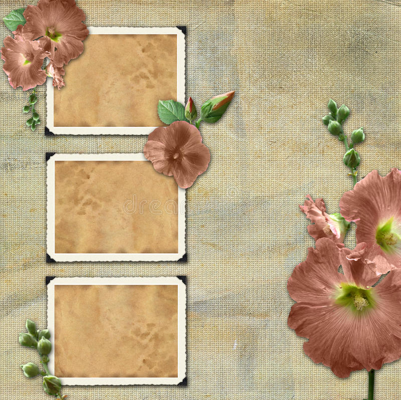 Vintage background with frames for photos. stock illustration