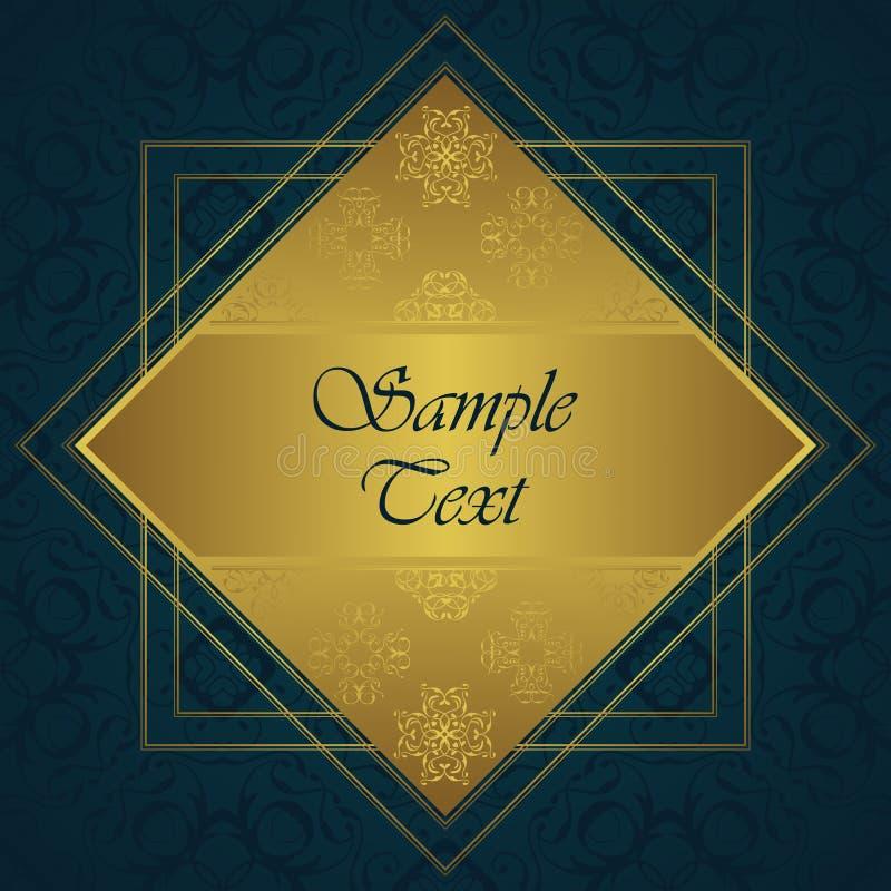 Vintage background. Gold frame. Lace decorative elements vector illustration