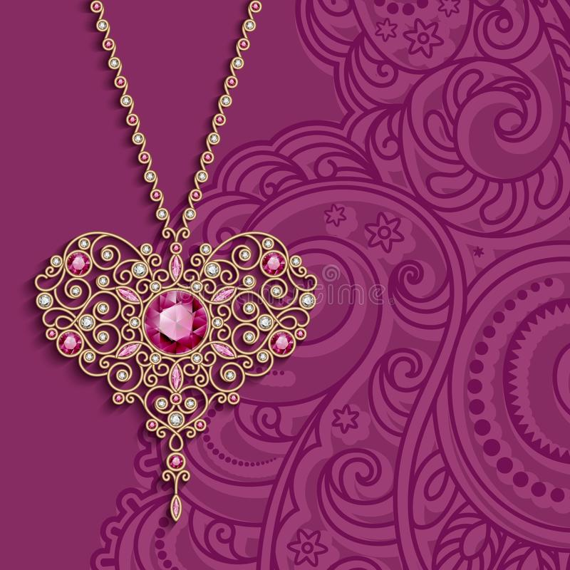 Vintage background with gold jewelry heart pendant royalty free illustration