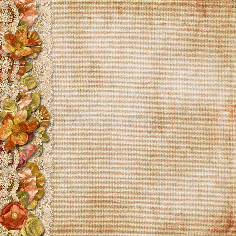 Vintage background with gorgeous flowers and lace royalty free stock image