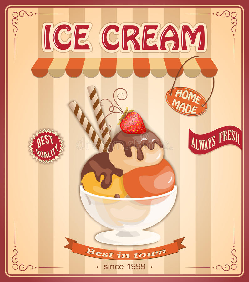 Vintage background with home made ice cream vector illustration