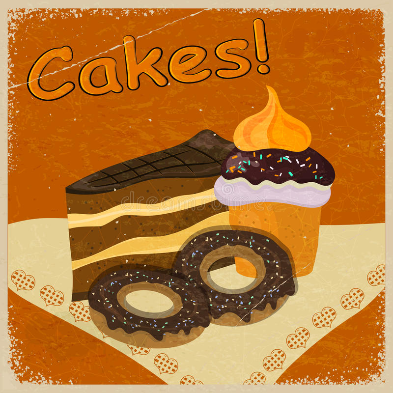 Vintage background image of a piece of cake and cookies royalty free stock photography