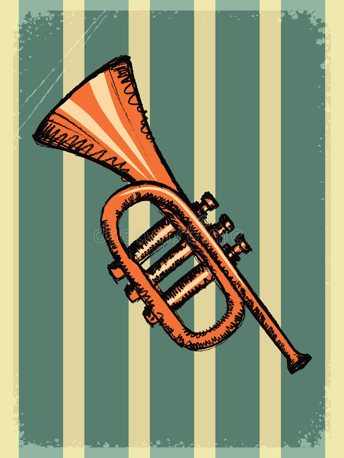 Vintage background with music instrument vector illustration
