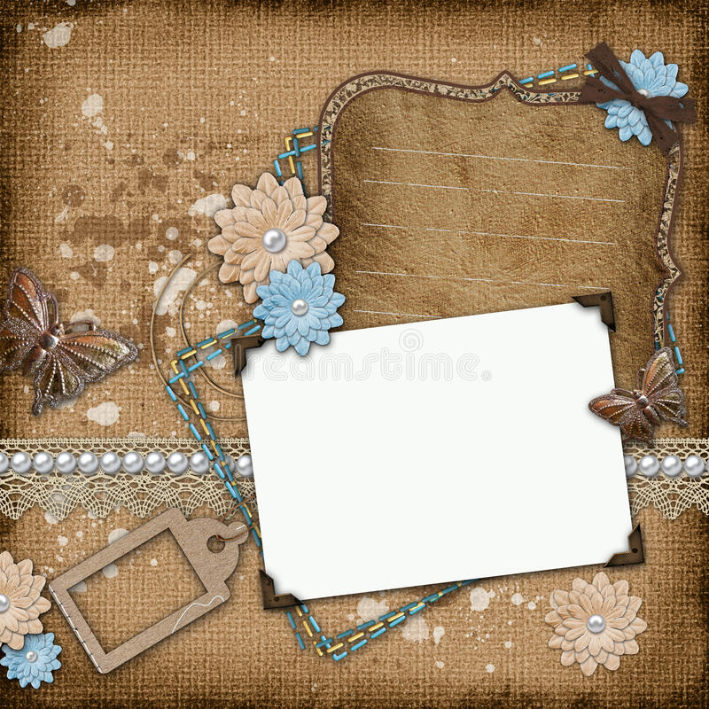 Vintage Background With Old Frames Royalty Free Stock Photos