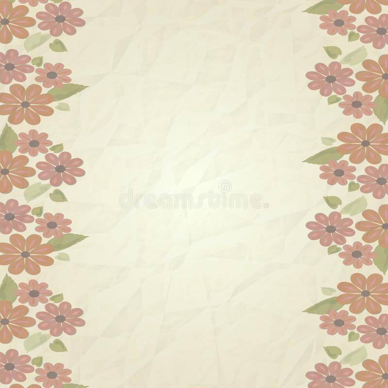 Download Vintage Background Old Paper Texture With Faded Soft Pink Flowers On Left And Right