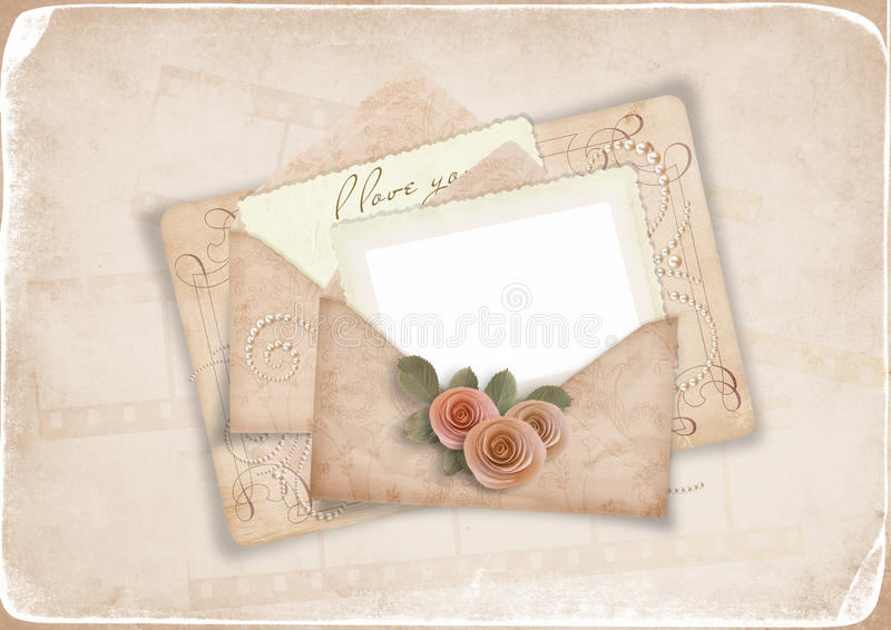 Download Vintage Background With Old Postcard To A Loved Stock Illustration - Image: 22211809