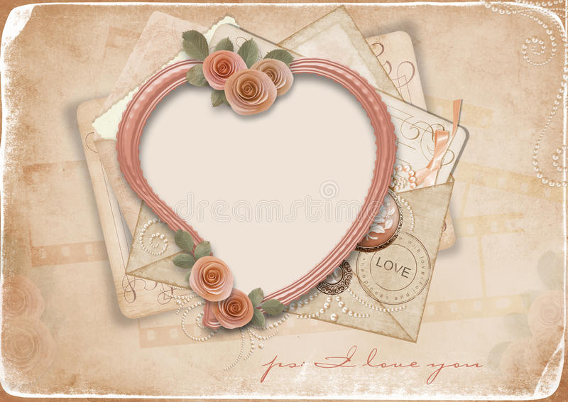 Vintage background with old postcards and heart stock illustration
