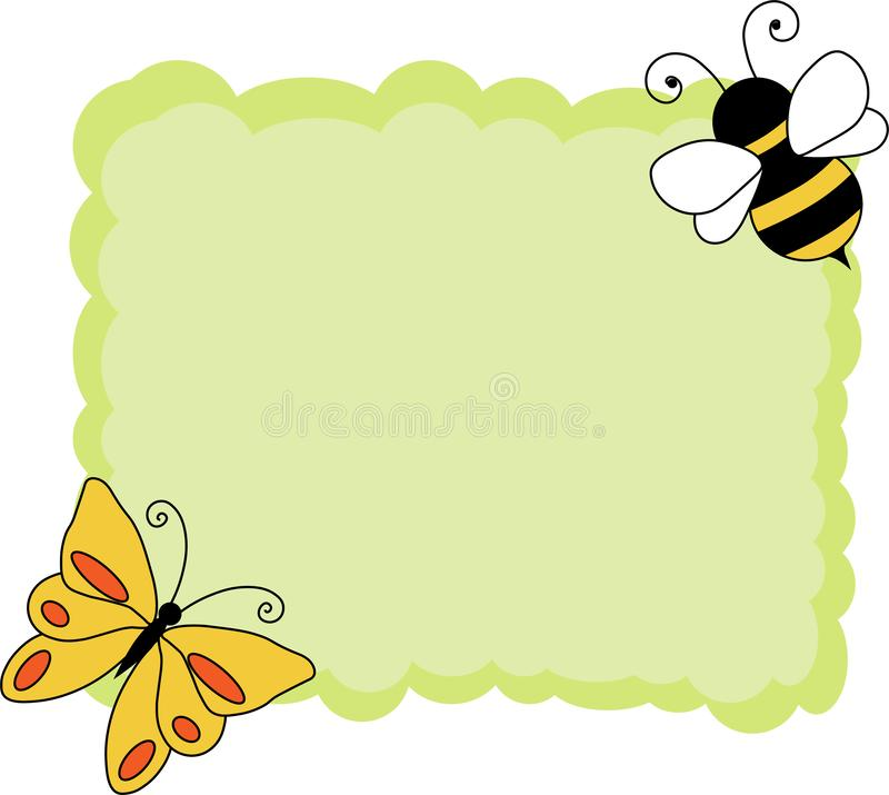 Vintage background with paper border decorationdCute green note paper with bee and butterfly stock illustration