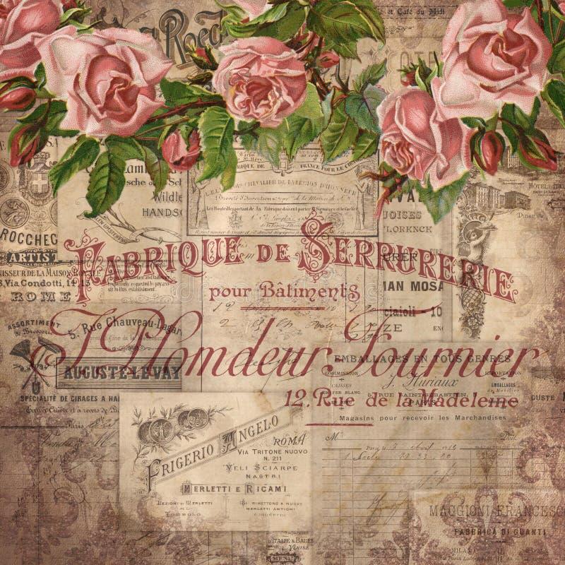Vintage Ephemera Collage Background - Pink Roses - Srapbooking Paper - Papercrafting - French Ephemera vector illustration