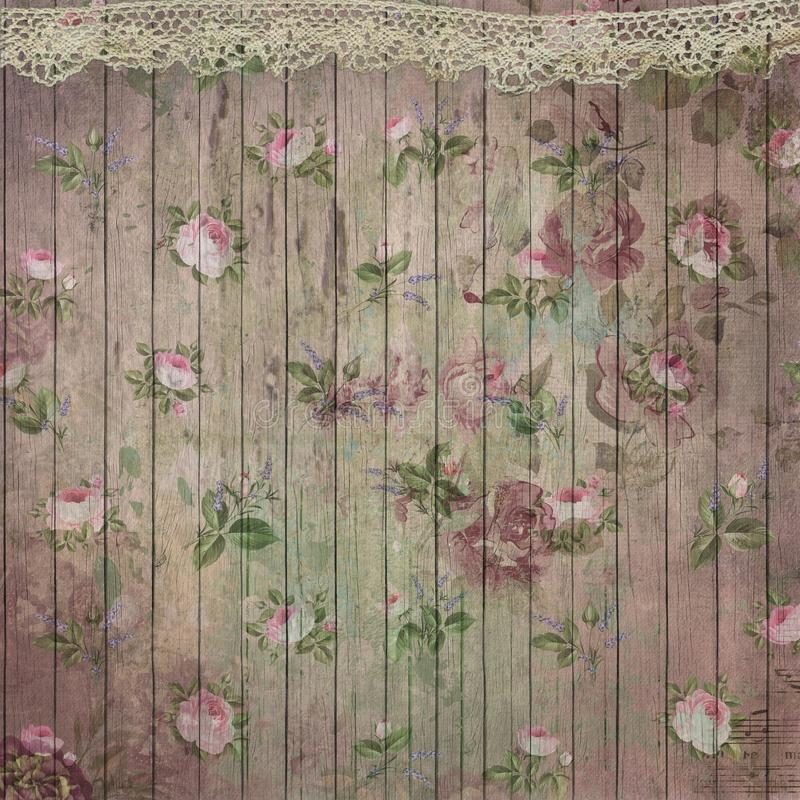 Download Vintage Roses Pattern On Wood Texture Background