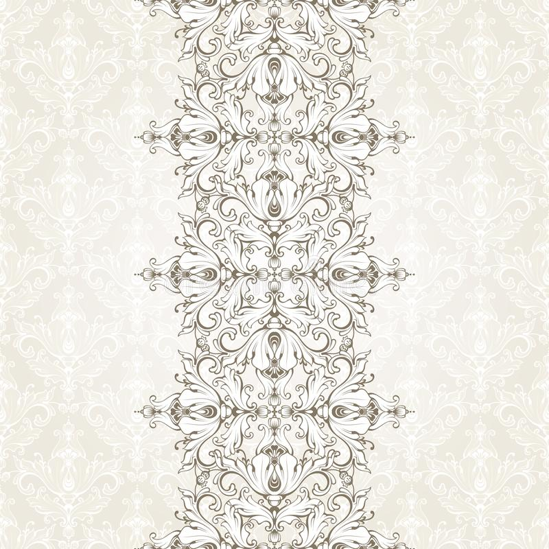 Vintage background with pattern and ornamental seamless border. Ornate template for invitation, greeting card, certificate design. royalty free illustration