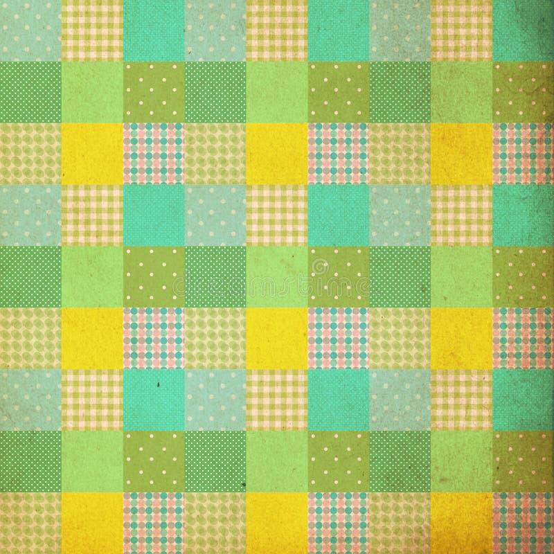 Vintage background, pattern, patchwork style, retro stock illustration
