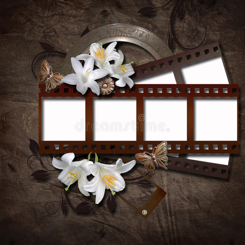 Vintage background with photo-frame and film strip vector illustration