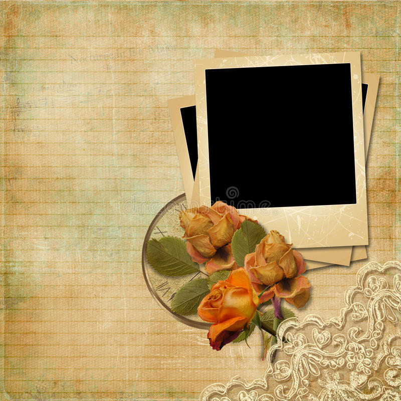 Download Vintage  Background With Polaroid-frame And Faded Roses Stock Photography - Image: 31425462