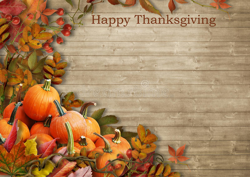 Vintage background with pumpkin and autumn leaves.Happy Thanksgiving stock photography
