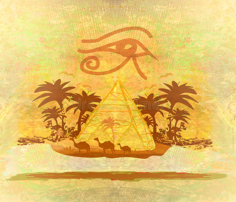 Vintage background with pyramids giza vector illustration
