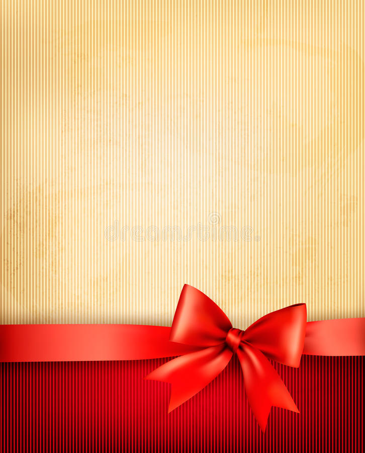 Vintage background with red gift bow and ribbon stock illustration