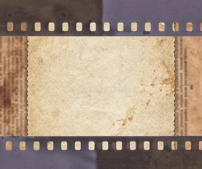 Vintage background with retro paper, newspaper and old film strip vector illustration