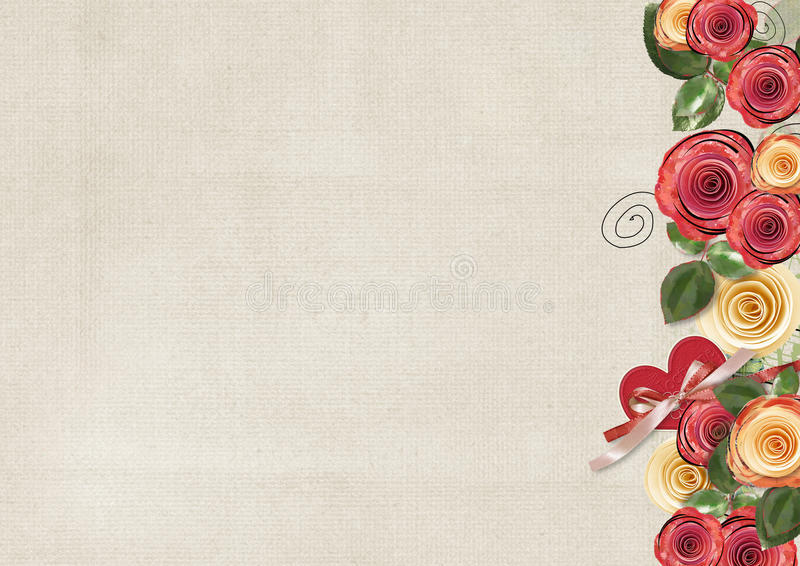 Download Vintage Background With Roses For Congratulations Stock Illustration - Illustration: 23924490
