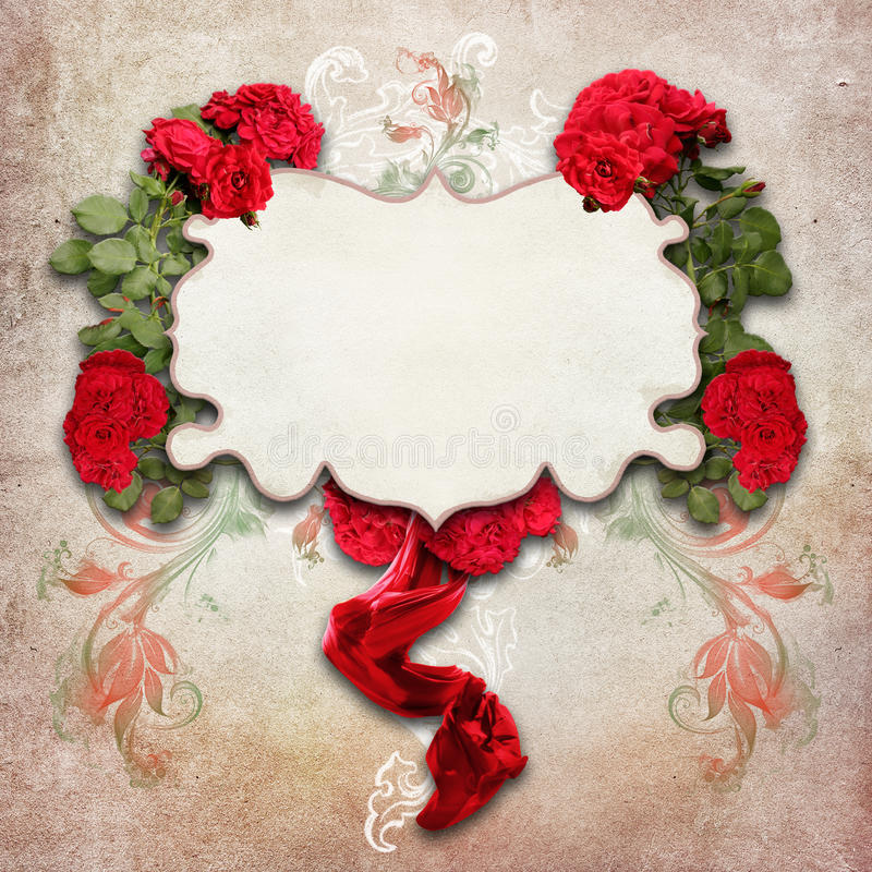 Download Vintage Background With Roses Stock Photo - Image of retro, antiquarian: 39502266