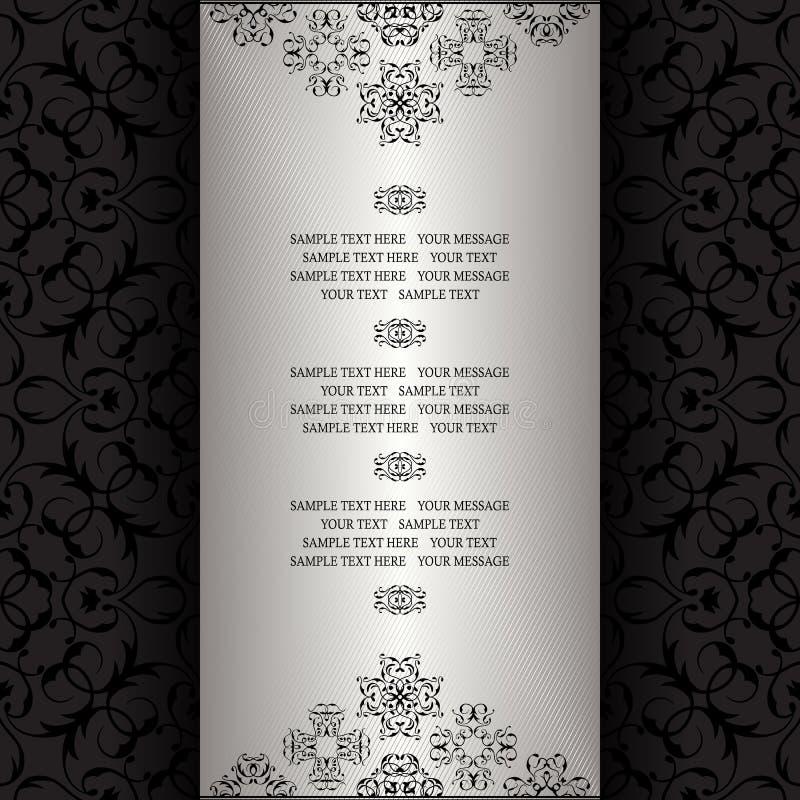 Vintage background, silver frame. Invitation card. Template for your design vector illustration
