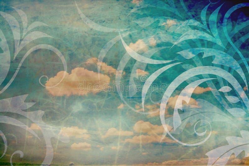 Vintage background with sky vector illustration