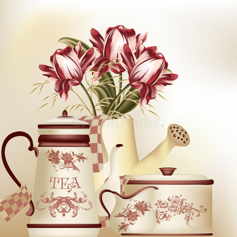 Vintage background with teapot, cup and tulips in pastel tones royalty free illustration