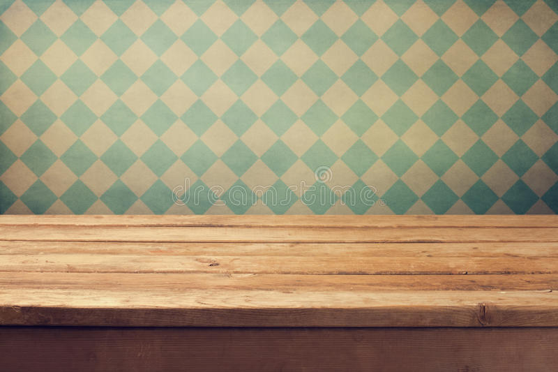 Download Vintage Background With Wooden Deck Table Over Retro Wallpaper Royalty Free Stock Photos - Image: 31636258