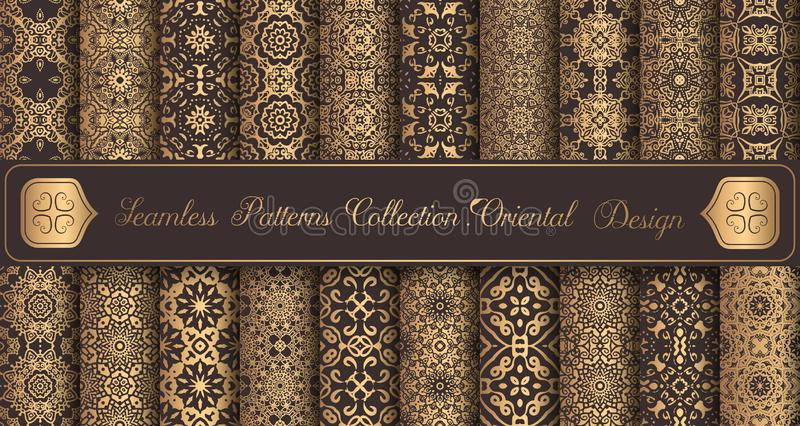 Vintage backgrounds luxury seamless patterns golden design elements stock illustration