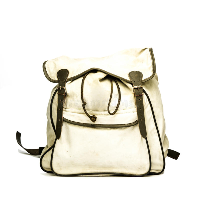 Vintage backpack made of canvas. stock image