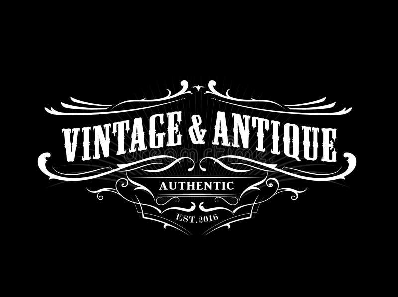 Vintage badge border western antique frame label engraving retro stock illustration