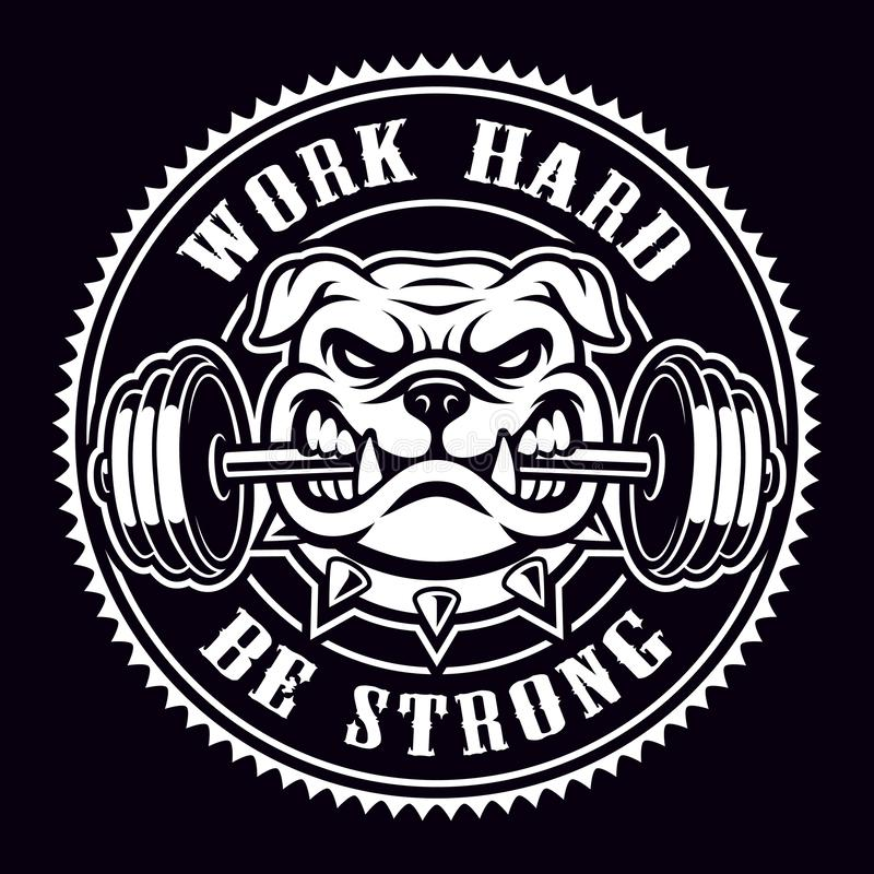 Vintage badge of a bulldog with dumbbell for gym theme. Text is on the separate layer