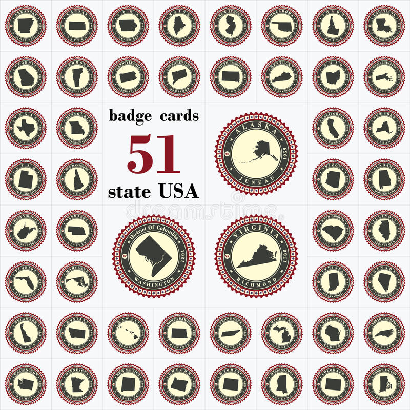 Vintage badge cards of State USA. Stylized label sticker with the name of the State, year of creation, the contour maps and the names abbreviations vector illustration