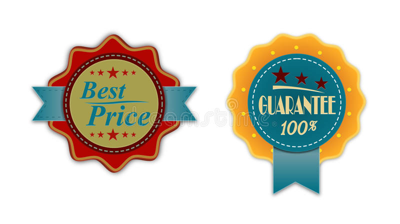Vintage Badge Guarantee. Vintage badger guarantee and best price with ribbon vector illustration