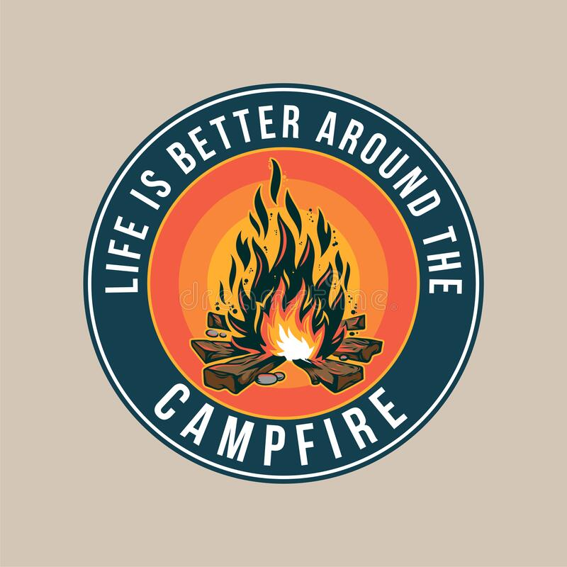 Free Vintage Badge With Campfire Outdoor Stock Image - 172212411