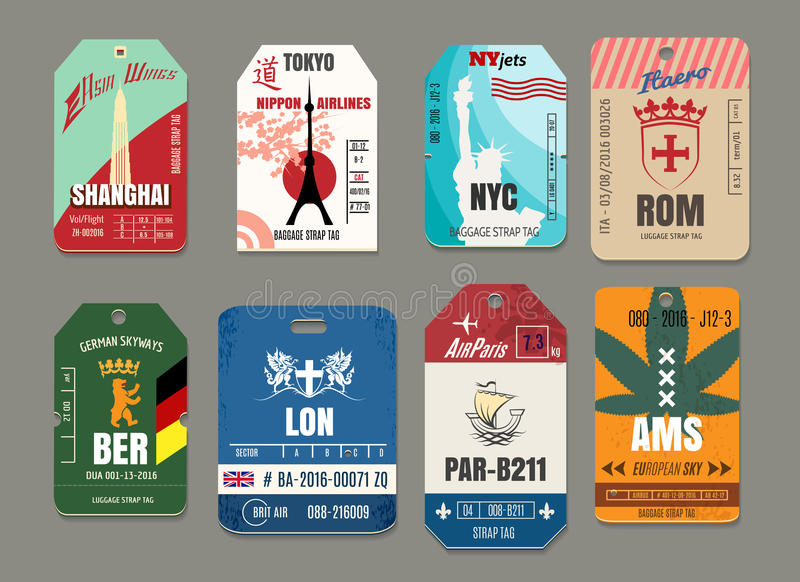 Vintage baggage or luggage vector paper tags set. Rome and tokyo, new york and shanghai, amsterdam and berlin, paris and london illustration royalty free illustration