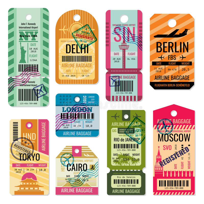 Vintage baggage tags and luggage labels vector set stock illustration